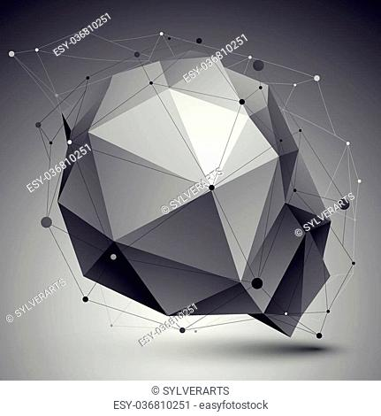 3D vector abstract tech illustration, perspective geometric unusual background with wireframe