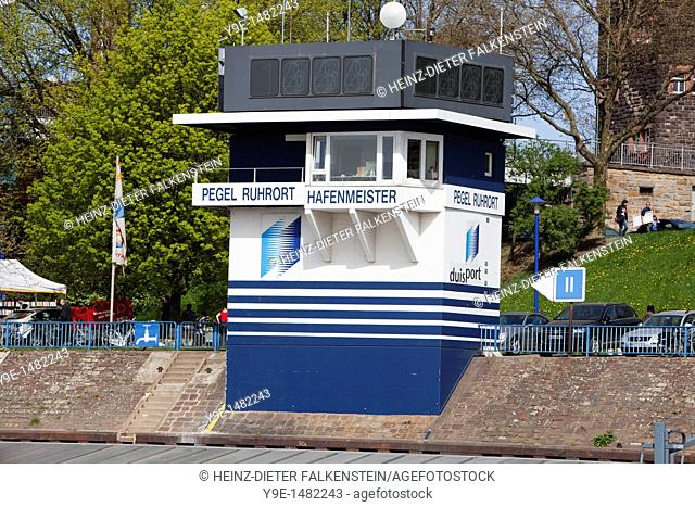 Harbourmaster's office and level, Ruhrort district, Duisburg, North Rhine-Westphalia, Germany, Europe