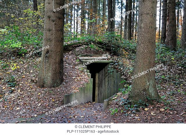 Entrance of cagna, hideout of the Belgian resistance fighters, the maquisards, at the Wolfsschlucht I / Grand Quartier Général Allemand 1940