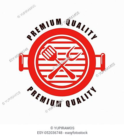 seal stamp in barbecue grill shape over white background. vector illustraiton