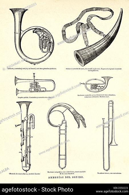 19th century wind musical instruments. Old 19th century engraved illustration, El Mundo Ilustrado 1880