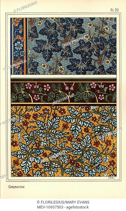 Geranium motifs in patterns for wallpaper and fabric. . Lithograph by Milesi with pochoir (stencil) handcoloring from Eugene Grasset's Plants and their...