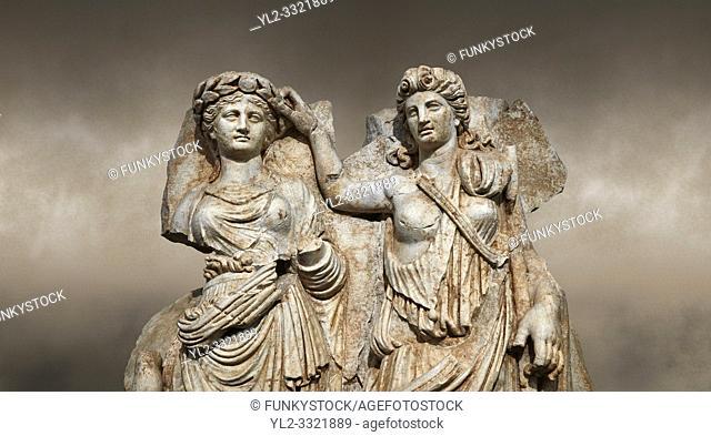 Close up of a Roman Sebasteion relief sculpture of Aphrodite crowned by Andreia, Aphrodisias Museum, Aphrodisias, Turkey. Against an art background