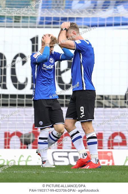 17 March 2019, North Rhine-Westphalia, Bielefeld: Soccer: 2nd Bundesliga, Arminia Bielefeld - VfL Bochum, 26th matchday in the Schüco Arena