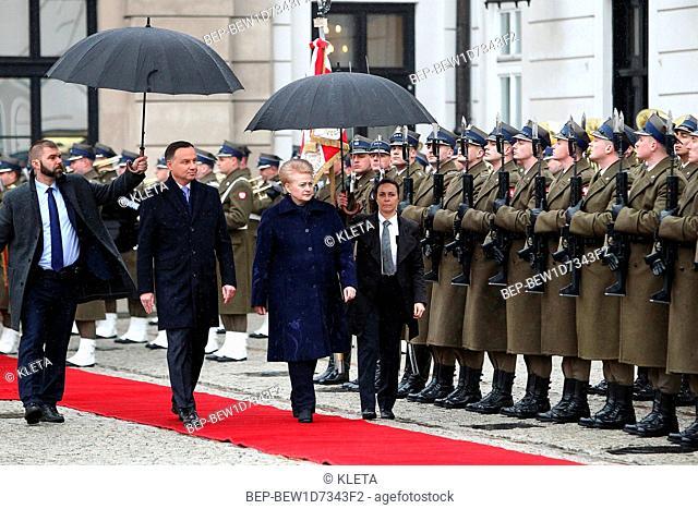 February 21, 2019 Warsaw, Poland. Former President of the Republic of Lithuania Dalia Grybauskaite visited Poland. Pictured: Dalia Grybauskaite and Andrzej Duda