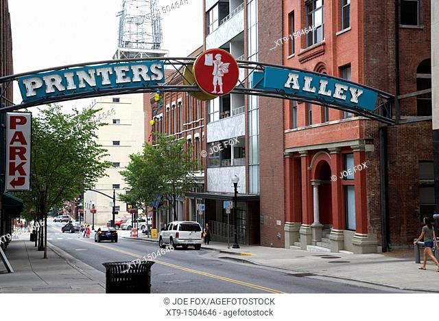 entrance to printers alley Nashville Tennessee USA