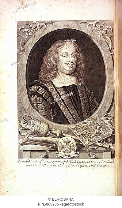 Edward Hyde 1st Earl of Clarendon. 1609-1674. English statesman. Image taken from The Life of Edward Earl of Clarendon containing I