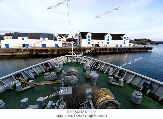Norway, Nordland County, Lofoten Islands, Stamsund, MS Nordlys cruise ship, Hurtigruten