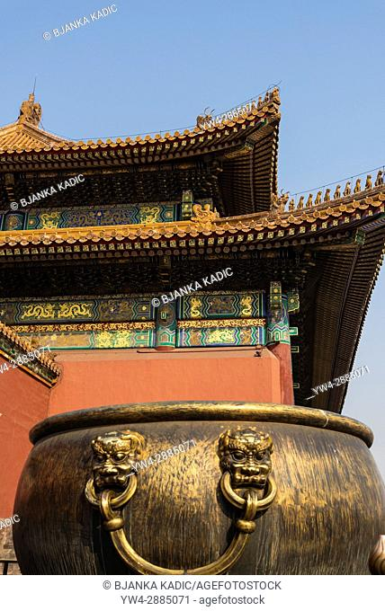 Copper and Iron Vats, Forbidden City, Chinese imperial palace, Beijing, China