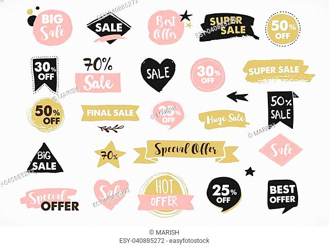 Super Sale labels, modern hand drawn stickers and tags template design