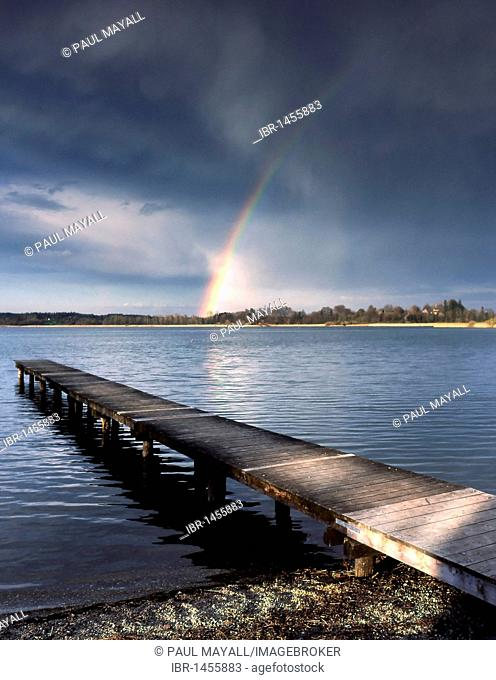 Rainbow over Lake Chiemsee, Chiemgau, Upper Bavaria, Germany, Europe