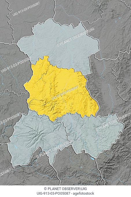 Departement of Puy-de-Dome, France, Relief Map