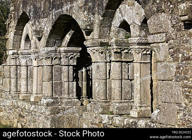Boquen Abbey. cote d'armor, brittany, france. Notre-Dame de Boquen Abbey, located on the edge of the Plénée-Jugon forest, is a former Cistercian abbey