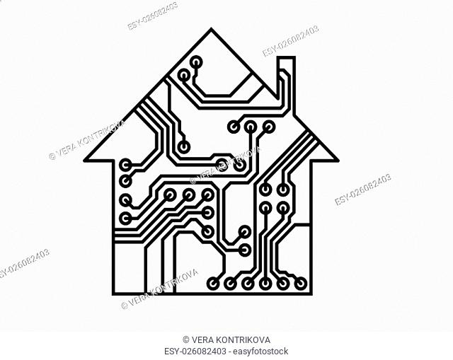 Smart household illustration, black and white vector, printed circuit board pattern, Internet of things illustration, usable as infographic element of...