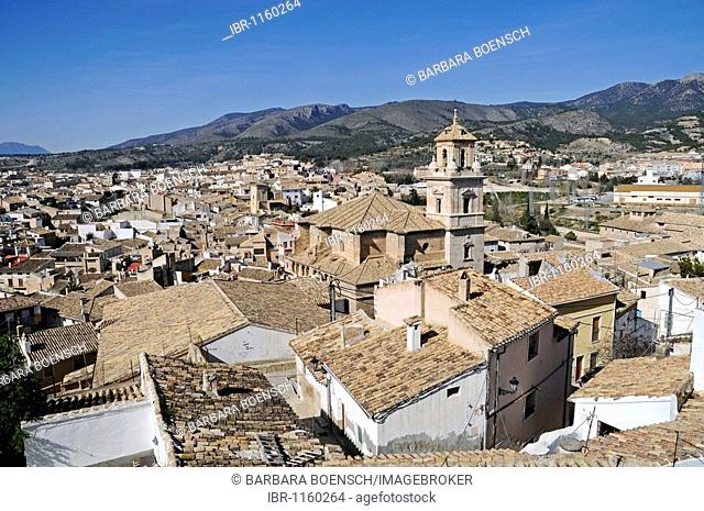 Cityscape, roofs, church, Caravaca de la Cruz, sacred city, Murcia, Spain, Europe