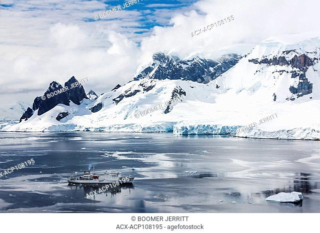 Akademic Sergey Vavilov anchors along the Danco Coast while exploring the antarctic Peninsula, Danco, Antarctic Peninsula, Antarctica
