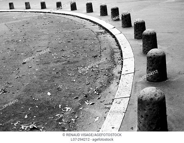 Semi-circle alignment of roadside markers. Strasbourg. Alsace. France