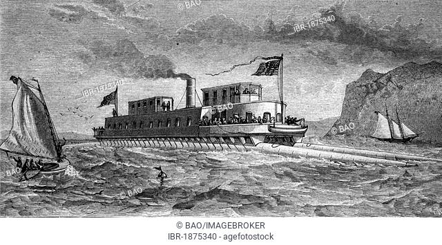 The steam-boat raft of Commodore Boorhis, historical illustration, circa 1886