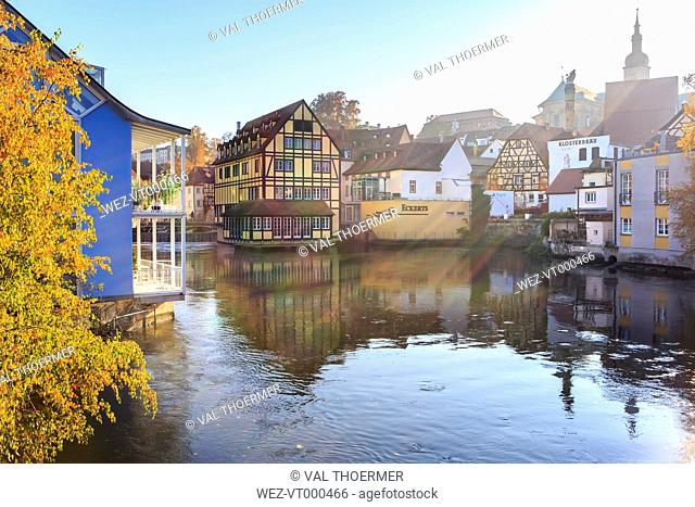 Germany, Bamberg, view to the city with Regnitz River in the foreground