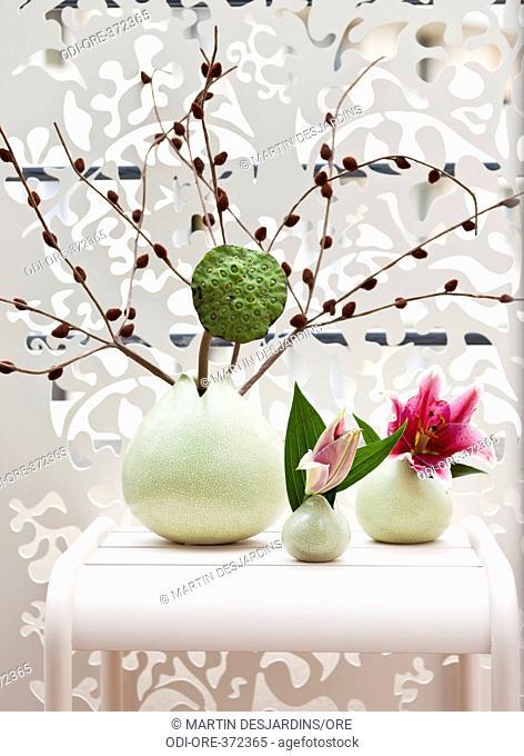 Flower vases balcony