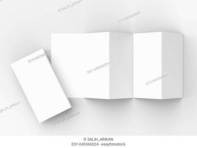 10 page leaflet, 5 panel accordion fold vertical brochure mock up isolated on light gray background. 3D illustrating