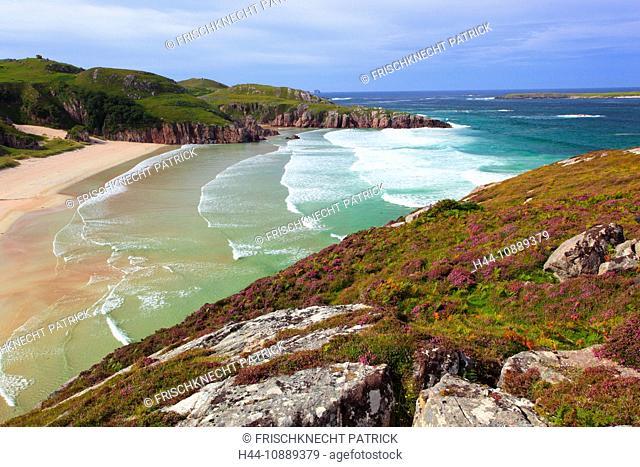 Broom moor, bay, Calluna vulgaris, Durness, Erica, cliff, rock, body of water, Great Britain, Heather, moor, Highland, highlands, cliff, cliffs, coast, scenery