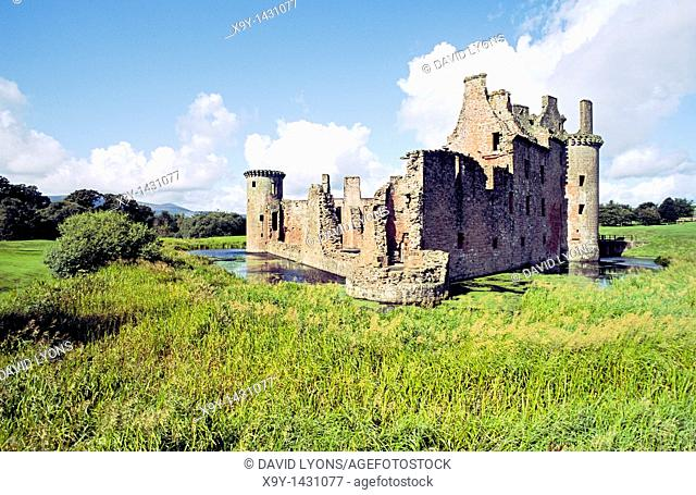 Caerlaverock Castle  Mediaeval moated fortified house  Dumfries and Galloway region  Scotland