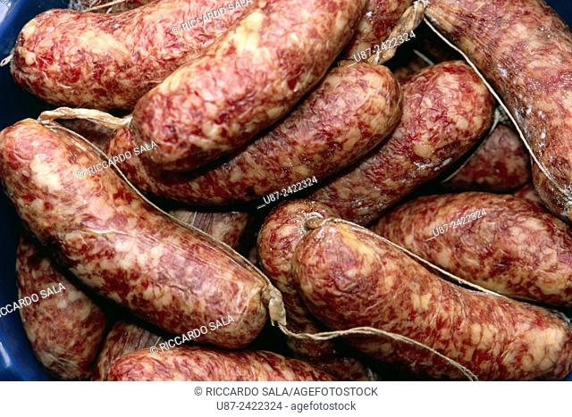 Italy, Lombardy, Sausage