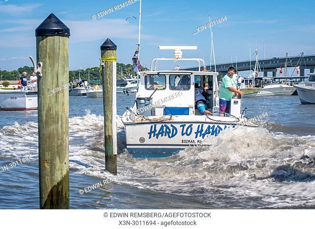 Motor boat kicks up water in its wake as it swings into dock