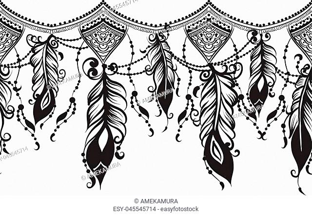 Seamless border with Chains and feathers - black line art on a white background, mehendi template