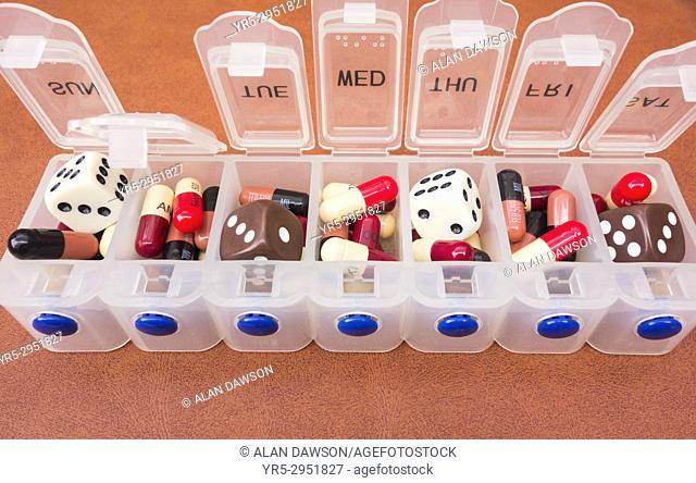 Concept antibiotic image: Amoxicillin and Flucloxacillin antibiotic tablets in daily dose container mixed in with dice. Oversuse, gambling with health