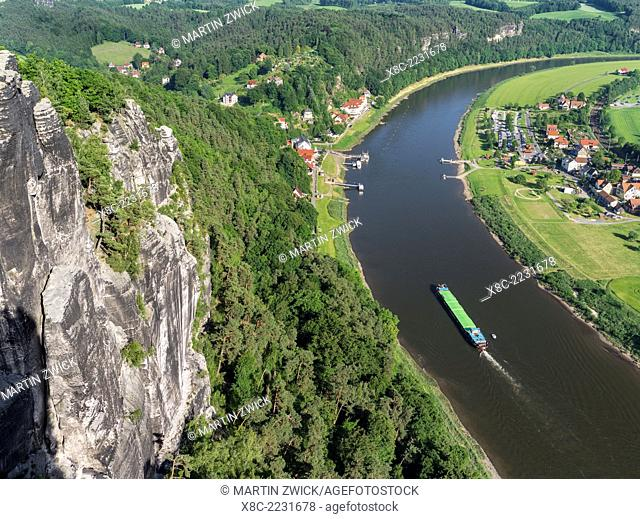 Elbe Sandstone Mountains (Elbsandsteingebirge) in the National Park Saxon Switzerland (Saechsische Schweiz). Bastei viewpoint looking over the river Elbe