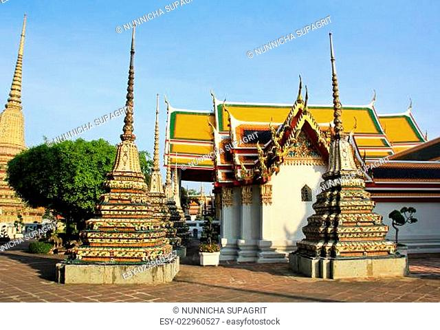 Authentic Thai Architecture in Wat Pho at Bangkok of Thailand