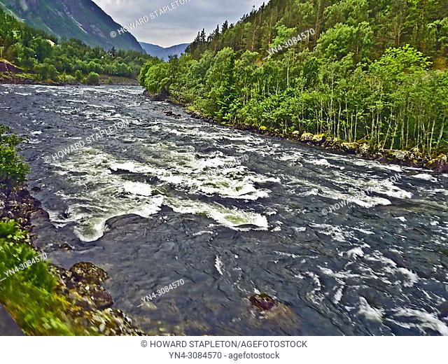 The Eio river is only 1. 3 miles long and runs from Lake Eidfjord into the Eid Fjord, Norway