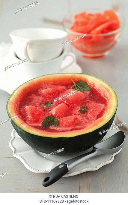 Watermelon sorbet in a frozen watermelon drink