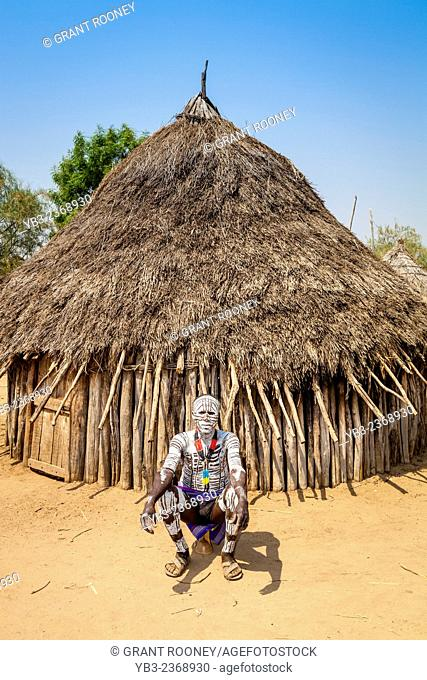 A Village Elder Outside His House, Kolcho Village, Omo Valley, Ethiopia