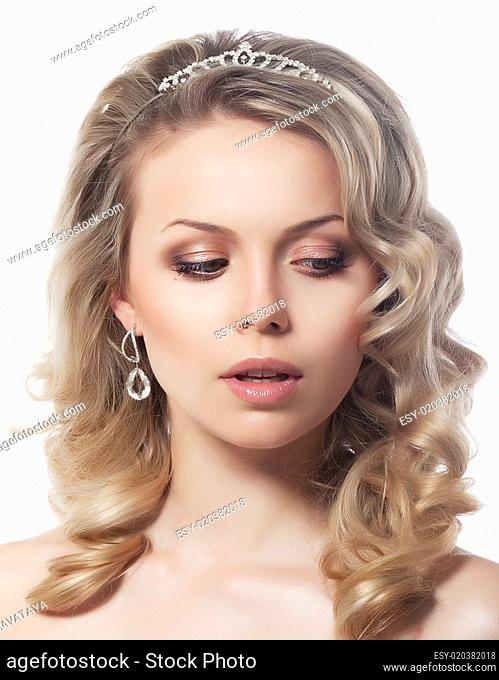 Portrait of lovely female blond hair model