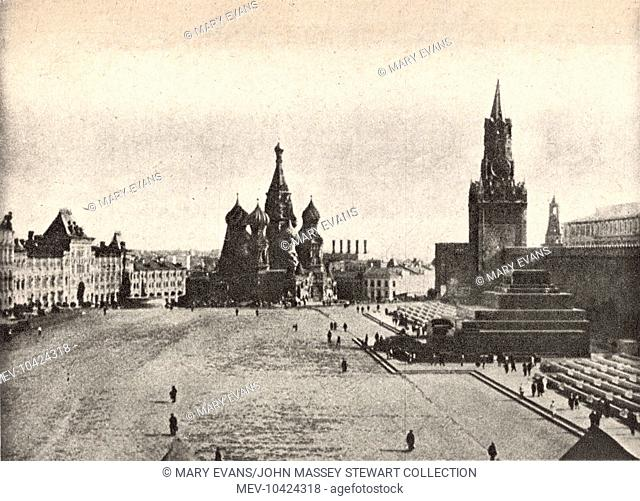 View of St Basil's Cathedral in Red Square, inside the Kremlin complex, Moscow, Soviet Union. Also known as The Cathedral of Intercession of Theotokos on the...