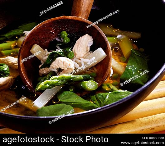 Rice soup with vegetables and turkey fillet