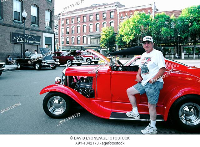 Hot rod classic car enthusiasts club meet in the New England town of Greenfield, Massachusetts, USA