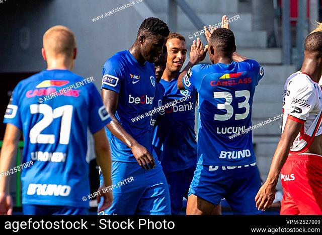 Genk's Cyriel Dessers celebrates after scoring during the Jupiler Pro League match between SV Zulte Waregem and KRC Genk, in Waregem, Sunday 09 August 2020