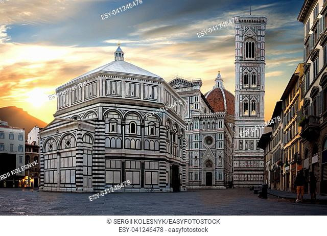 Famous Cathedral Santa Maria del Fiore in Florence at sunrise