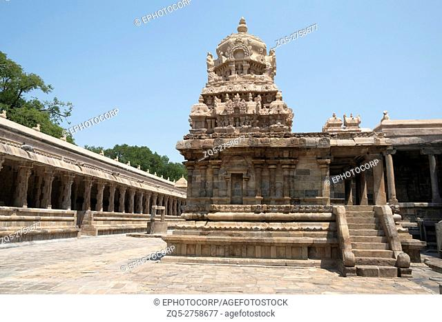 Chandikesvara Temple in the north of Airavatesvara Temple, Darasuram, Tamil Nadu, India. View from West