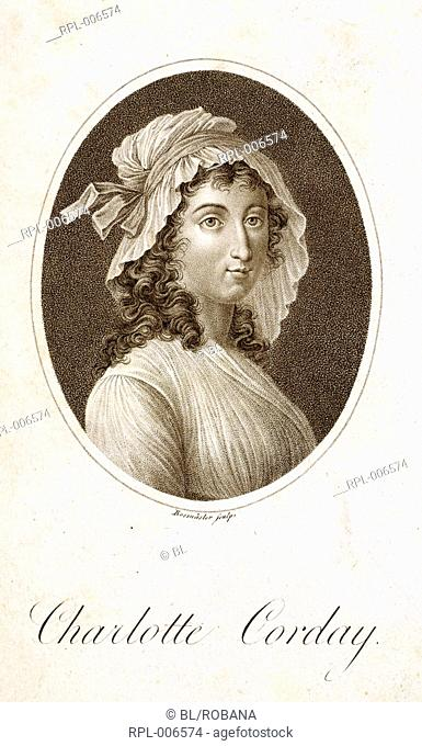 Charlotte Corday  Marie Charlotte Corday d' Armont   1768 - 1793 . French noblewoman and assassin. Portrait. Image taken from Charlotte Corday