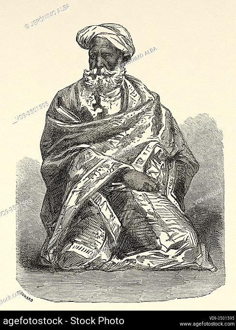 Portrait of Peer Sing, owner of an accommodation in Marri, India. Trip to Punjab and Kashmir by Guillaume Lejean. Old engraving El Mundo en la Mano 1878