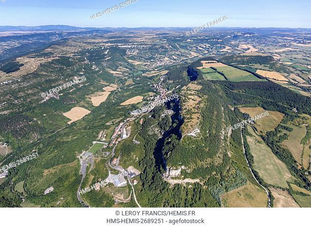 France, Aveyron, Roquefort sur Soulzon, Parc Naturel Régional des Grands Causses, the village at the base of the cliff (aerial view)
