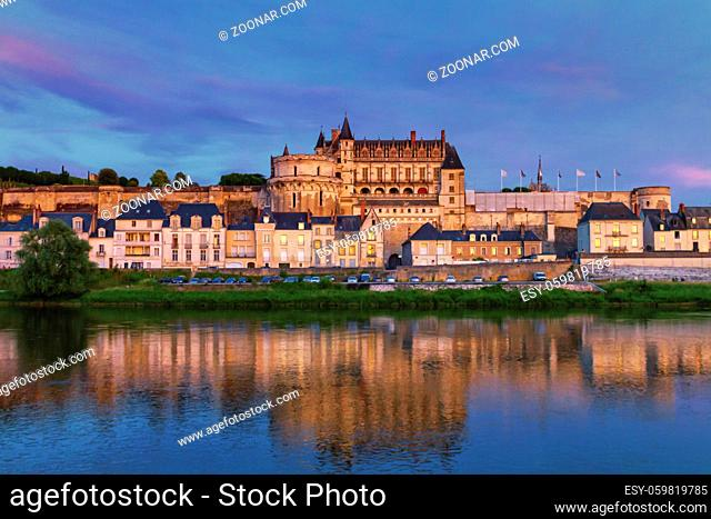 Famous Amboise Castle and reflexion over Loire river by night, France