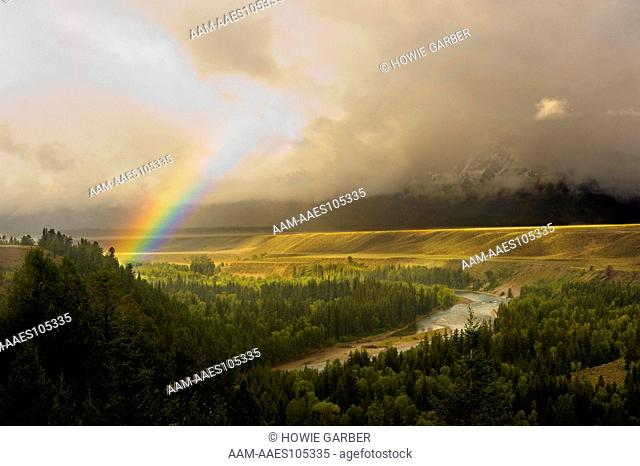 Clearing Storm, Rainbow, Snake River near Oxbow Bend, Grand Teton National Park, near Jackson Hole, Wyoming