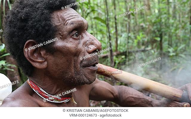 Man from the Kombai tribe smoking a pipe in the jungle, Papua, Indonesia, Southeast Asia