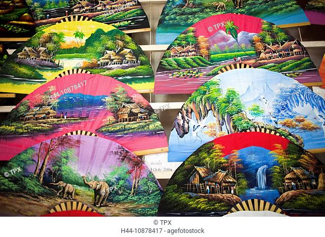 Thailand, Chiang Mai, Borsang Handicraft Village, Colourful Souvenir Fans